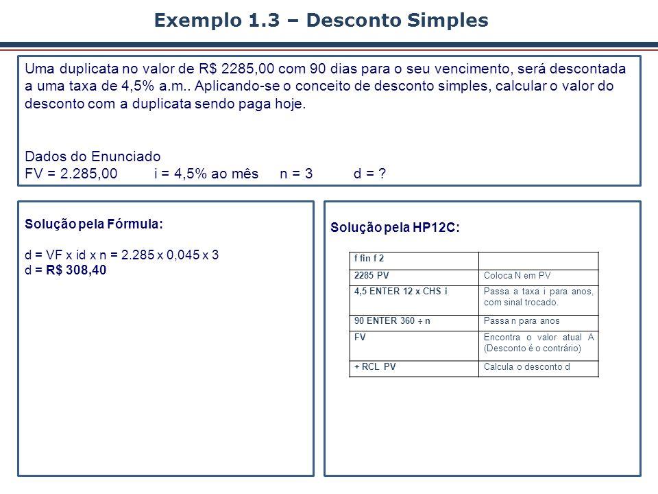 Exemplo 1.3 – Desconto Simples
