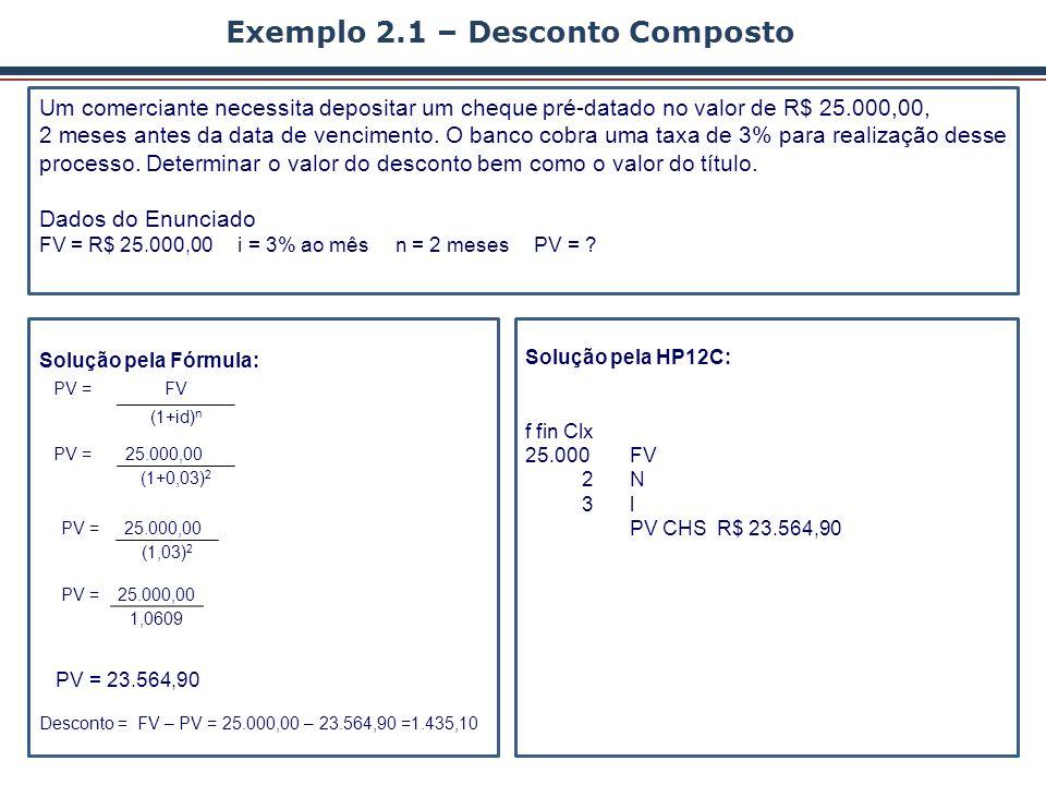 Exemplo 2.1 – Desconto Composto