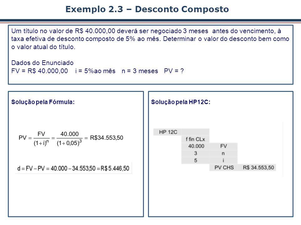 Exemplo 2.3 – Desconto Composto