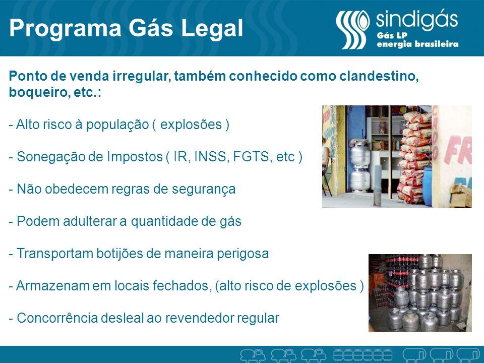 Programa Gás Legal Ponto de venda irregular, também conhecido como clandestino, boqueiro, etc.: - Alto risco à população ( explosões )
