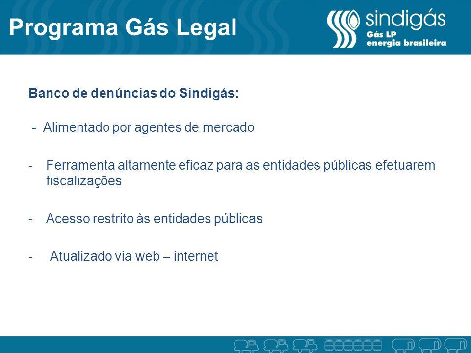 Programa Gás Legal Banco de denúncias do Sindigás: