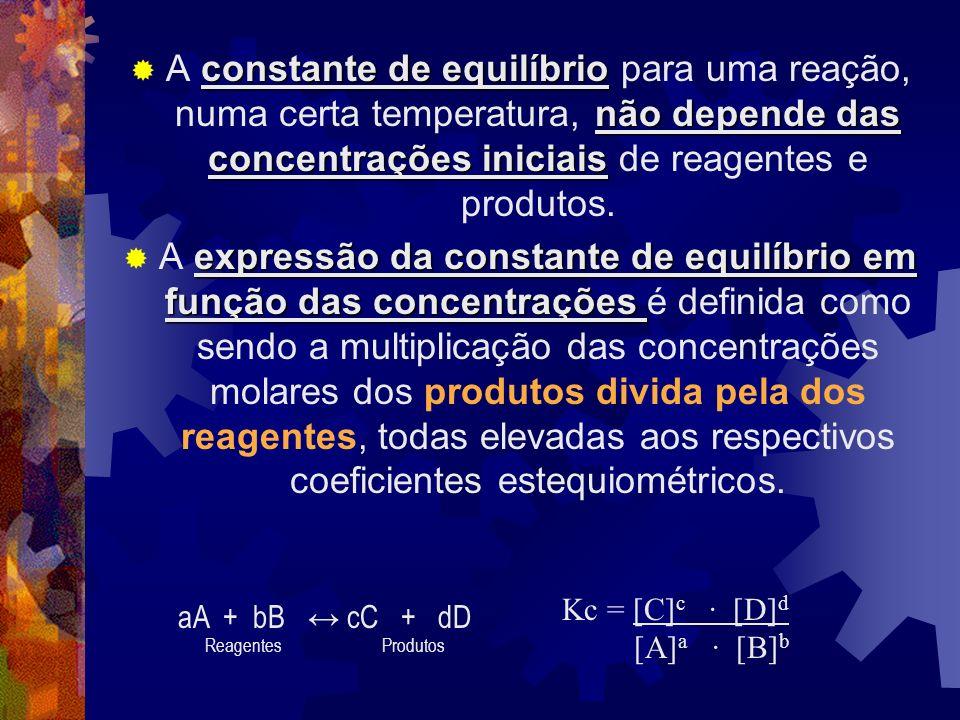 A constante de equilíbrio para uma reação, numa certa temperatura, não depende das concentrações iniciais de reagentes e produtos.