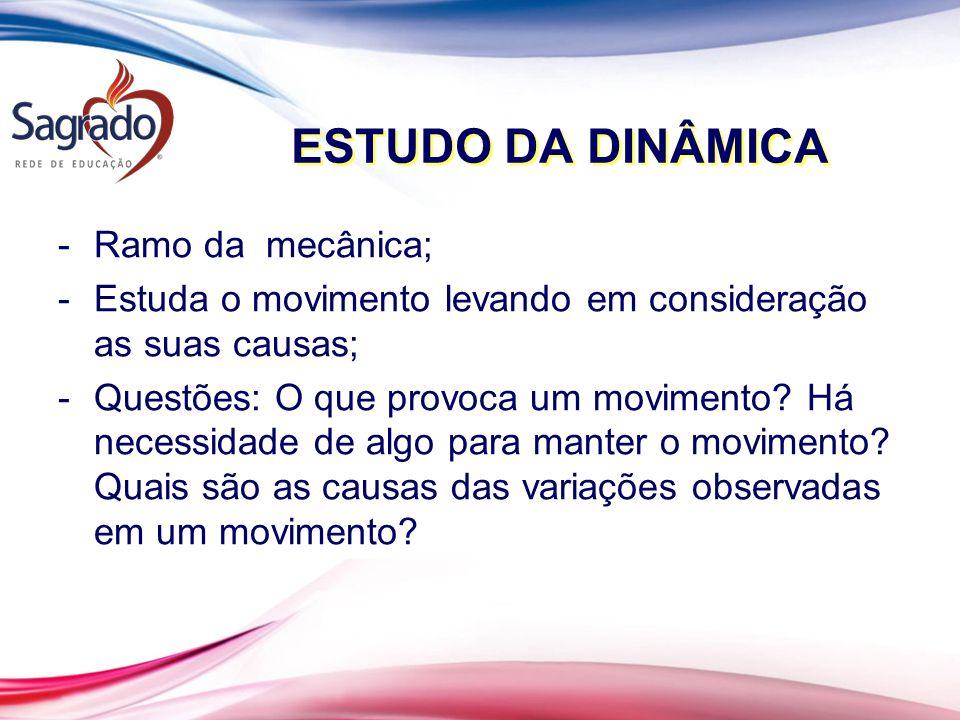 ESTUDO DA DINÂMICA Ramo da mecânica;