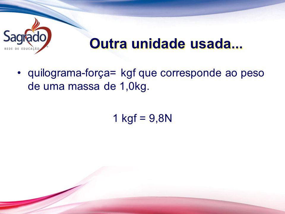Outra unidade usada... quilograma-força= kgf que corresponde ao peso de uma massa de 1,0kg.