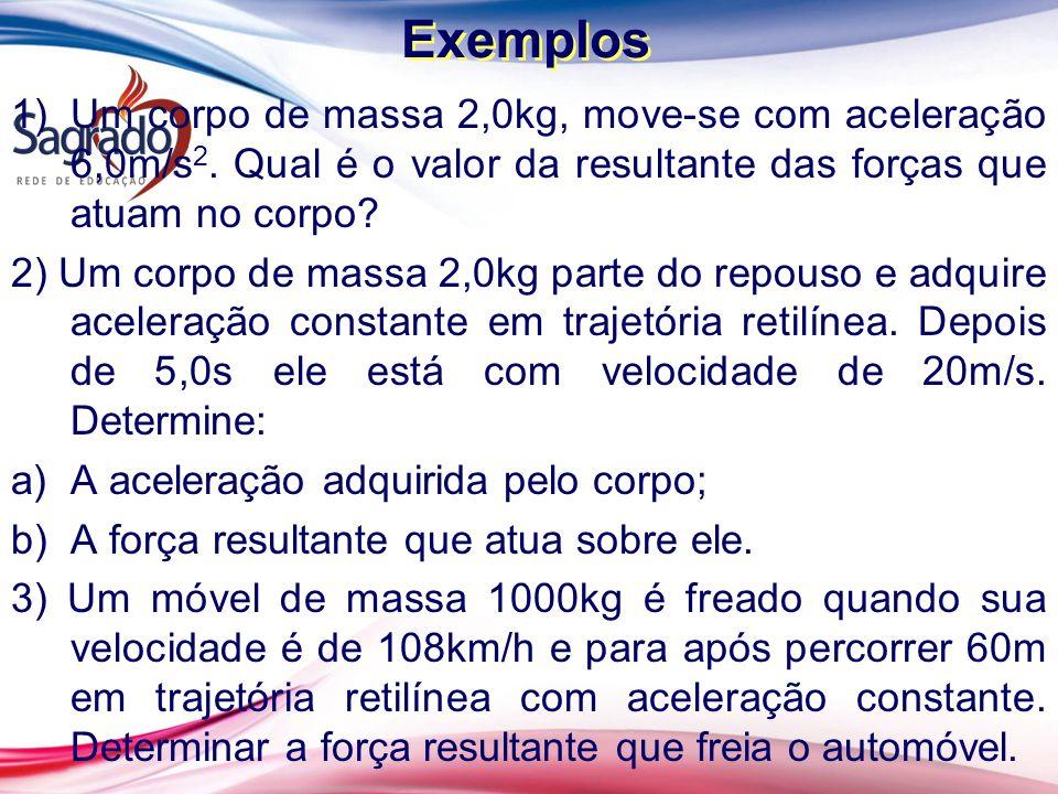 Exemplos Um corpo de massa 2,0kg, move-se com aceleração 6,0m/s2. Qual é o valor da resultante das forças que atuam no corpo
