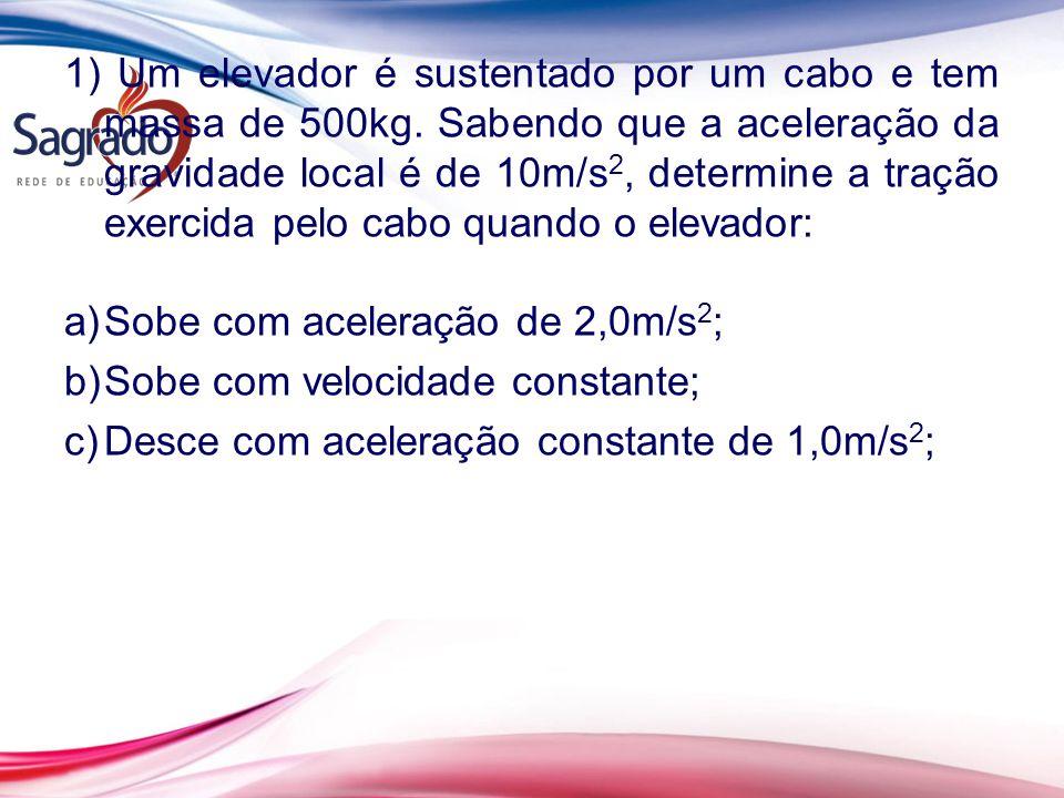 1) Um elevador é sustentado por um cabo e tem massa de 500kg
