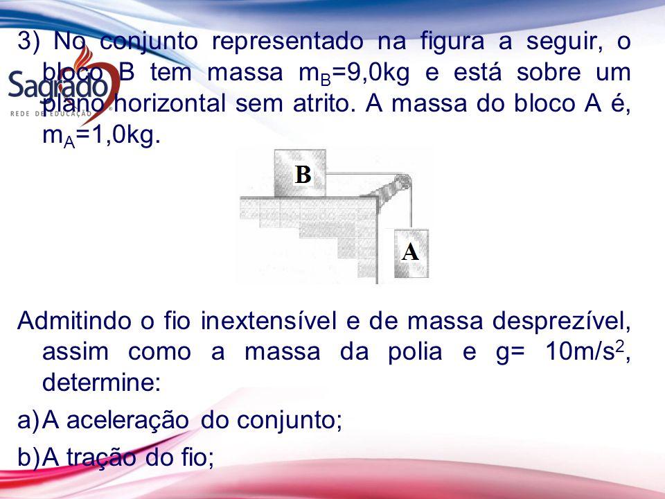 3) No conjunto representado na figura a seguir, o bloco B tem massa mB=9,0kg e está sobre um plano horizontal sem atrito. A massa do bloco A é, mA=1,0kg.