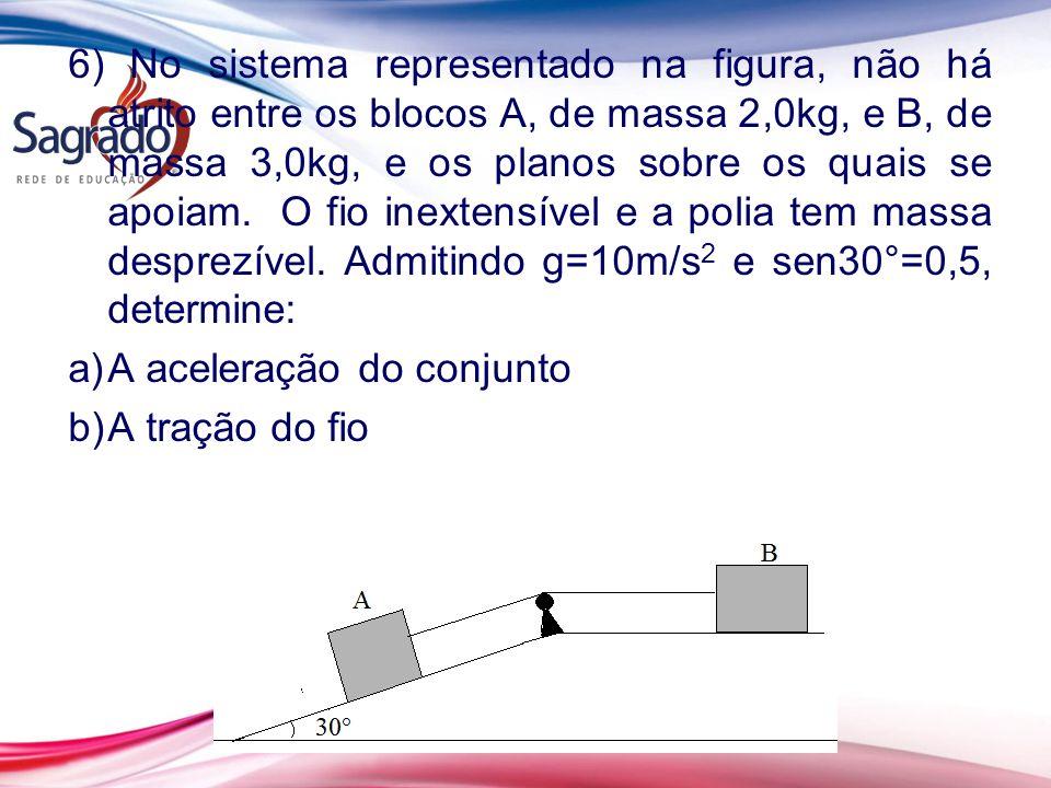 6) No sistema representado na figura, não há atrito entre os blocos A, de massa 2,0kg, e B, de massa 3,0kg, e os planos sobre os quais se apoiam. O fio inextensível e a polia tem massa desprezível. Admitindo g=10m/s2 e sen30°=0,5, determine: