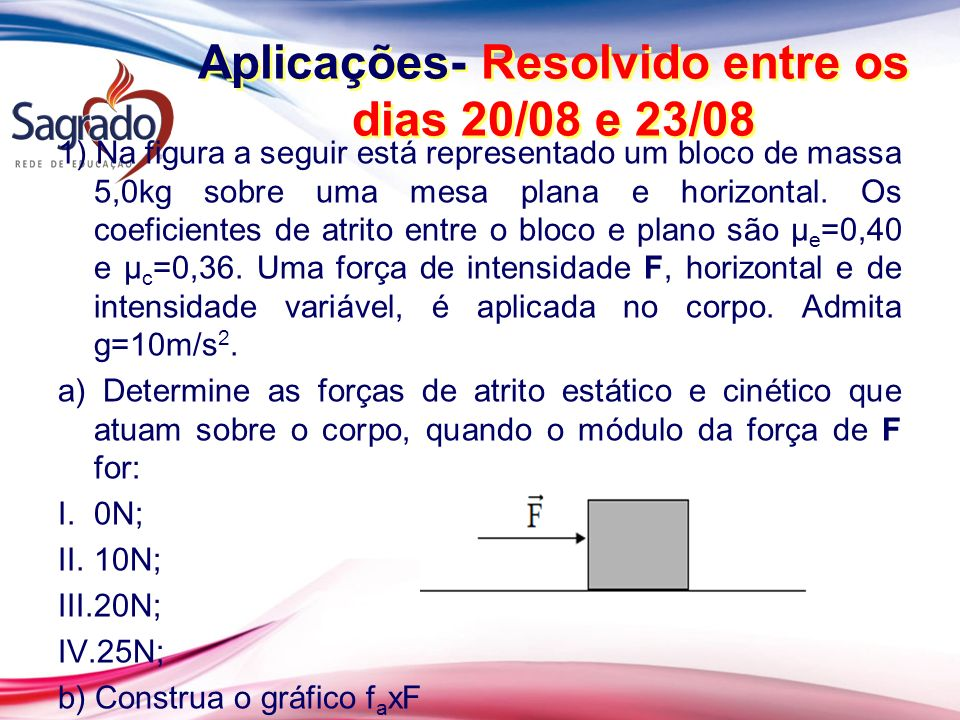 Aplicações- Resolvido entre os dias 20/08 e 23/08
