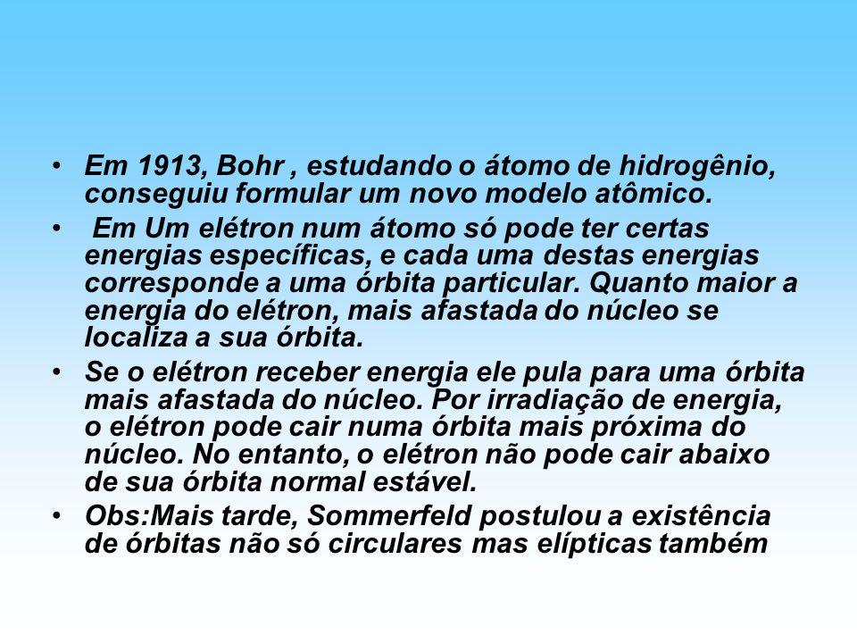 Em 1913, Bohr , estudando o átomo de hidrogênio, conseguiu formular um novo modelo atômico.
