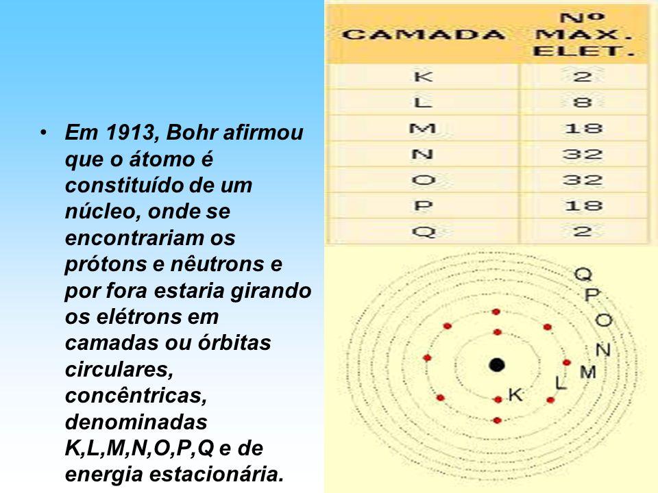 Em 1913, Bohr afirmou que o átomo é constituído de um núcleo, onde se encontrariam os prótons e nêutrons e por fora estaria girando os elétrons em camadas ou órbitas circulares, concêntricas, denominadas K,L,M,N,O,P,Q e de energia estacionária.