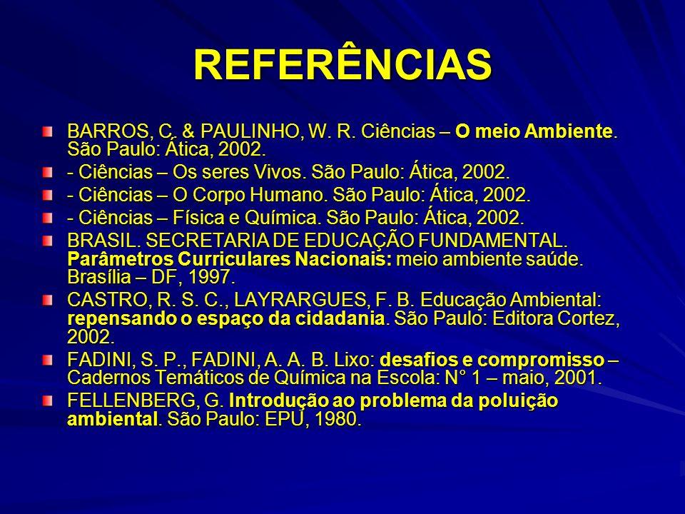 REFERÊNCIAS BARROS, C. & PAULINHO, W. R. Ciências – O meio Ambiente. São Paulo: Ática, 2002. - Ciências – Os seres Vivos. São Paulo: Ática, 2002.
