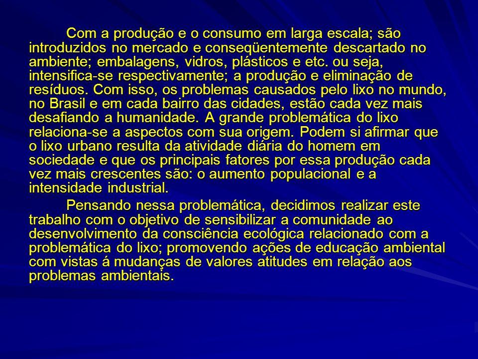 Com a produção e o consumo em larga escala; são introduzidos no mercado e conseqüentemente descartado no ambiente; embalagens, vidros, plásticos e etc. ou seja, intensifica-se respectivamente; a produção e eliminação de resíduos. Com isso, os problemas causados pelo lixo no mundo, no Brasil e em cada bairro das cidades, estão cada vez mais desafiando a humanidade. A grande problemática do lixo relaciona-se a aspectos com sua origem. Podem si afirmar que o lixo urbano resulta da atividade diária do homem em sociedade e que os principais fatores por essa produção cada vez mais crescentes são: o aumento populacional e a intensidade industrial.