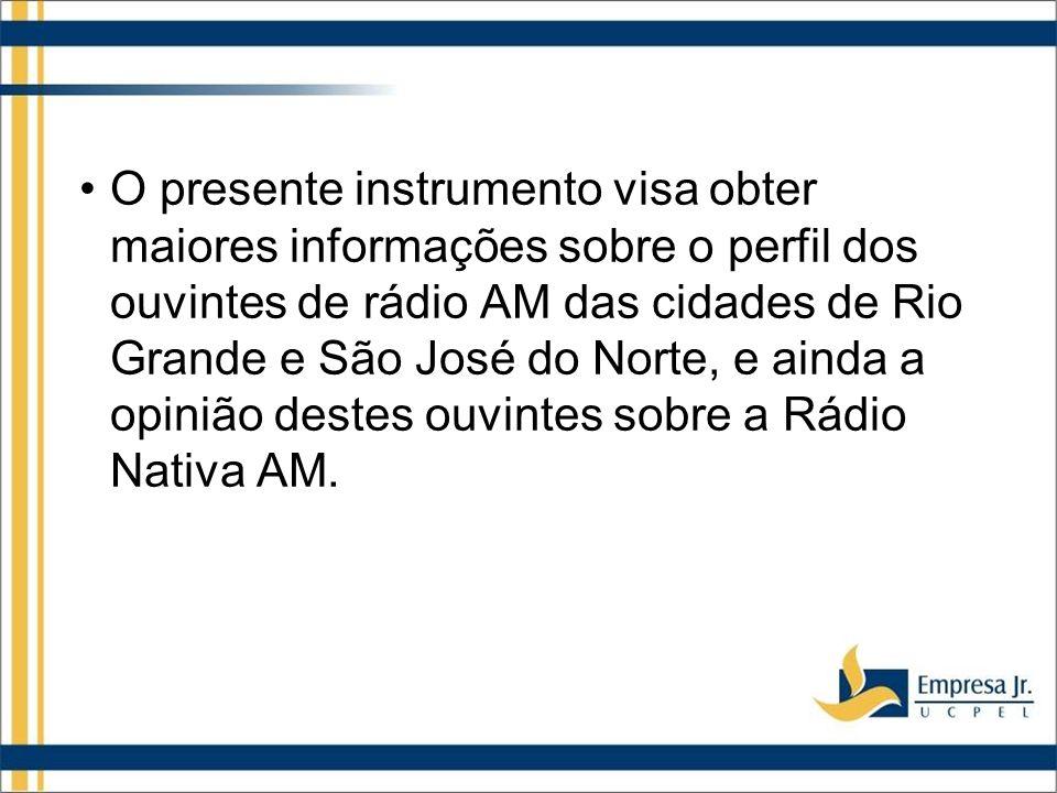 O presente instrumento visa obter maiores informações sobre o perfil dos ouvintes de rádio AM das cidades de Rio Grande e São José do Norte, e ainda a opinião destes ouvintes sobre a Rádio Nativa AM.