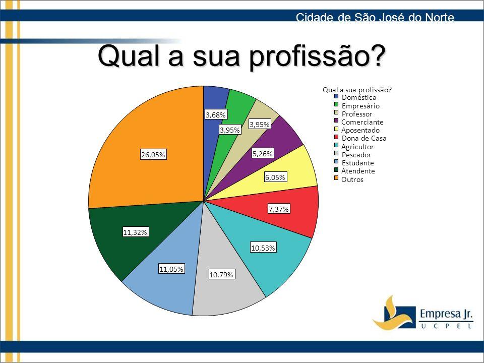 Qual a sua profissão Cidade de São José do Norte 26,05% 11,32% 11,05%