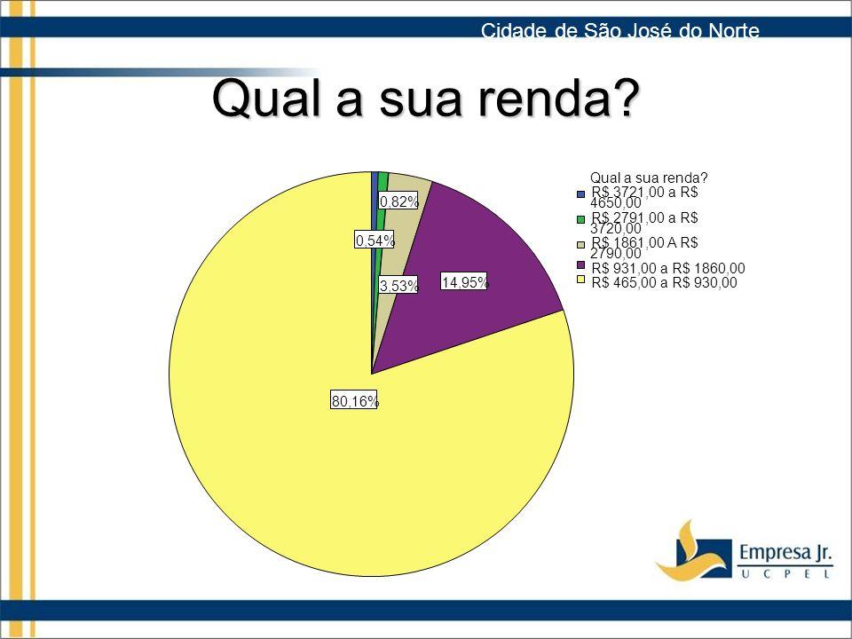 Qual a sua renda Cidade de São José do Norte 80,16% 14,95% 3,53%