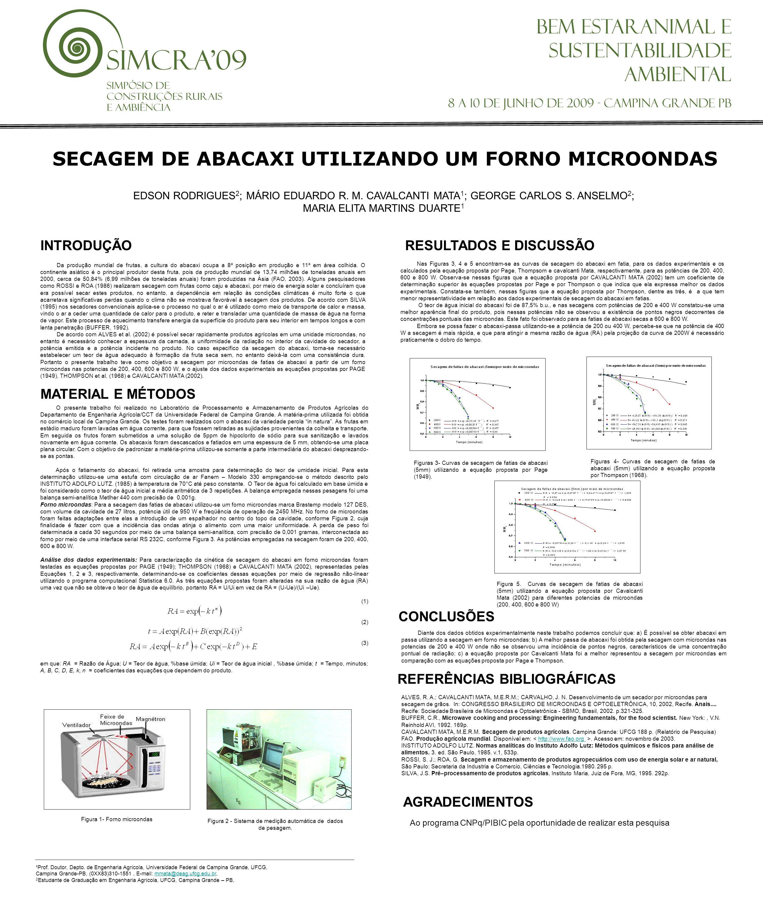 SECAGEM DE ABACAXI UTILIZANDO UM FORNO MICROONDAS