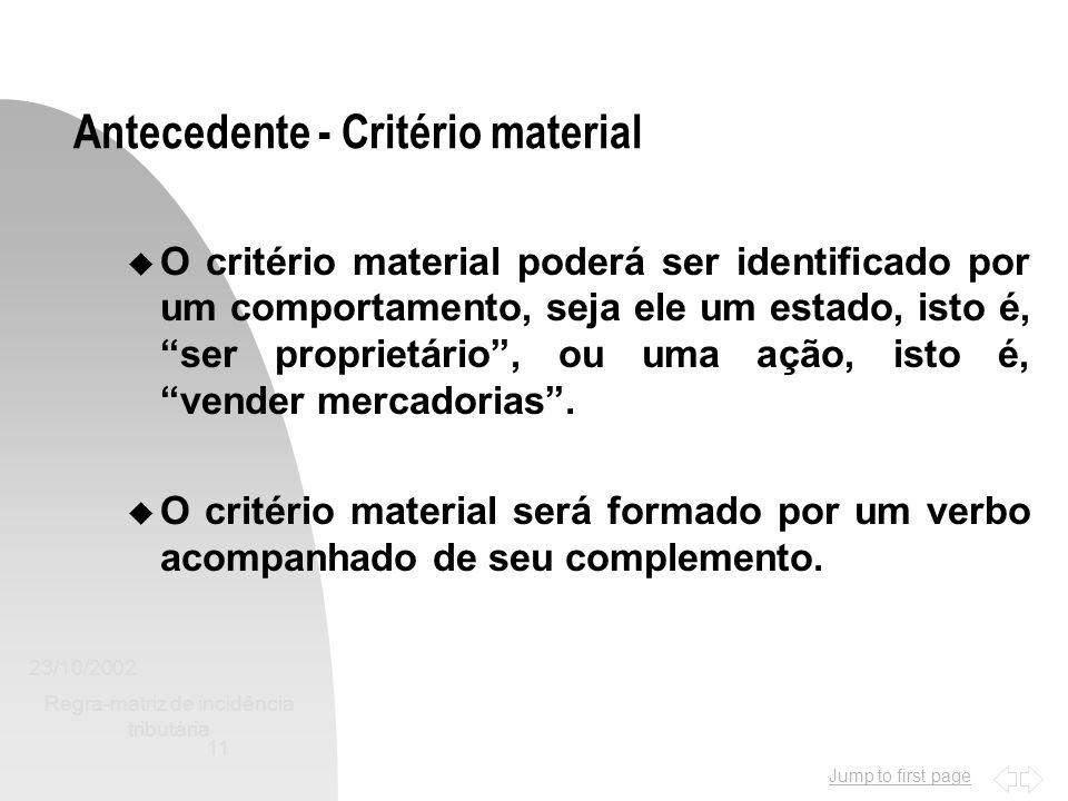 Antecedente - Critério material