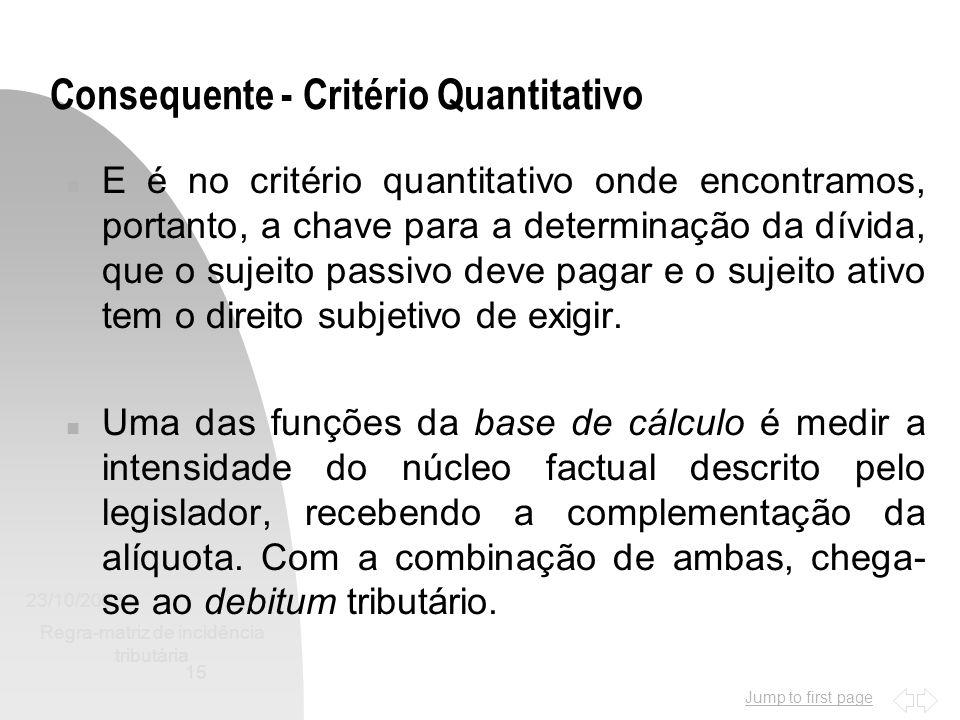 Consequente - Critério Quantitativo