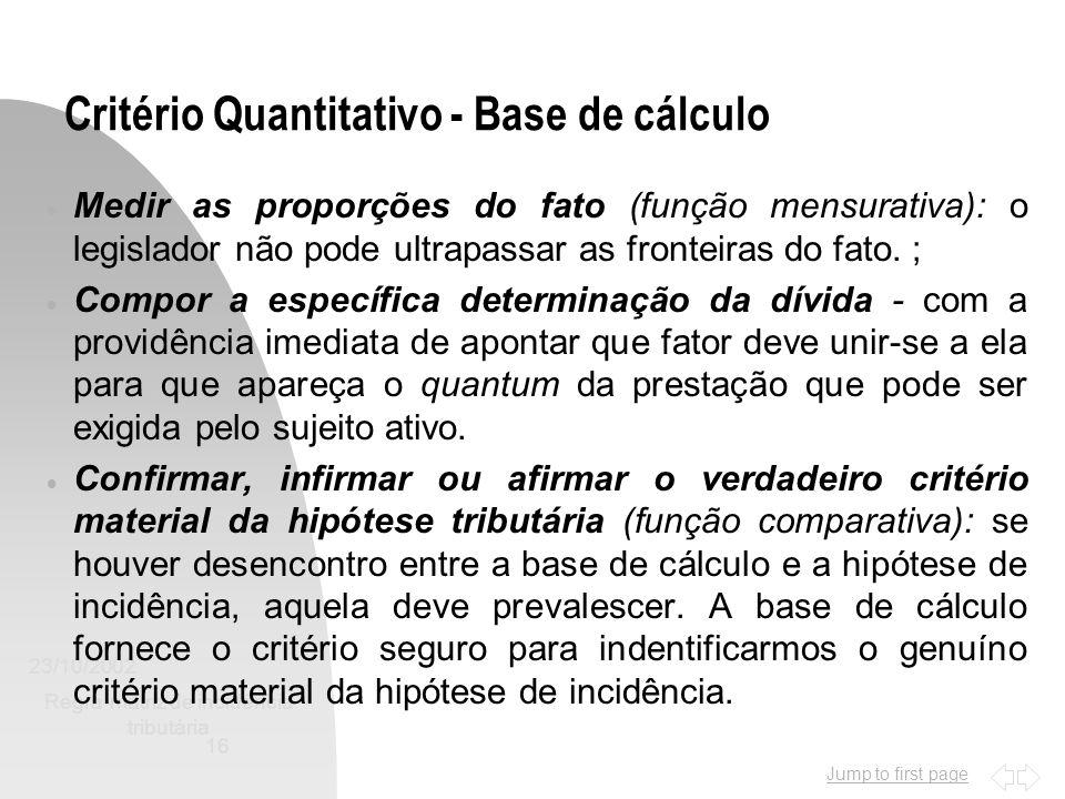 Critério Quantitativo - Base de cálculo
