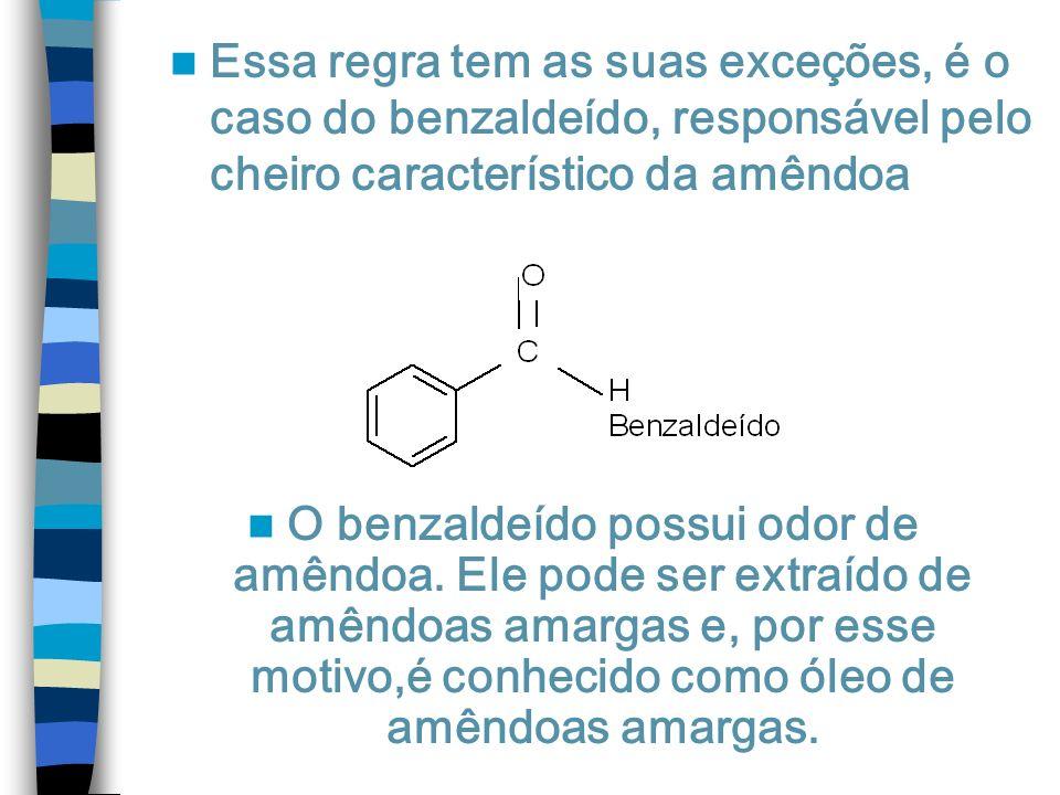 Essa regra tem as suas exceções, é o caso do benzaldeído, responsável pelo cheiro característico da amêndoa