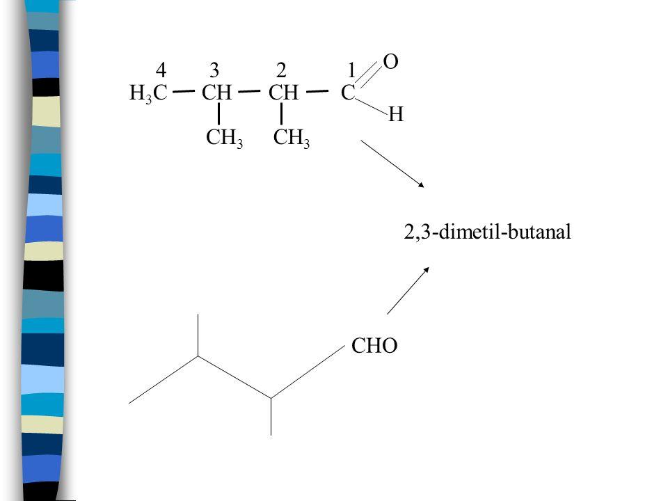 O 4 3 2 1 H3C CH CH C H CH3 CH3 2,3-dimetil-butanal CHO