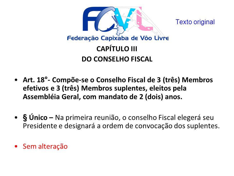CAPÍTULO III DO CONSELHO FISCAL
