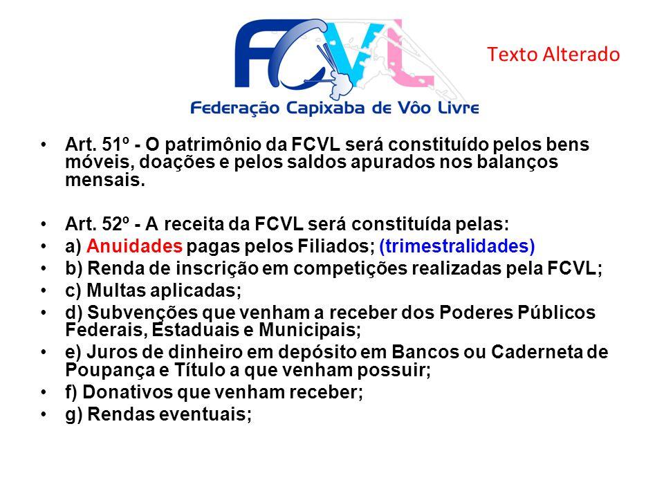Texto Alterado Art. 51º - O patrimônio da FCVL será constituído pelos bens móveis, doações e pelos saldos apurados nos balanços mensais.