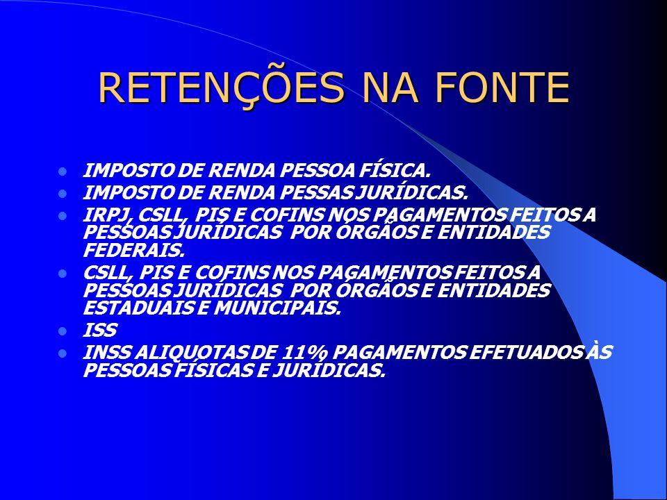 RETENÇÕES NA FONTE IMPOSTO DE RENDA PESSOA FÍSICA.
