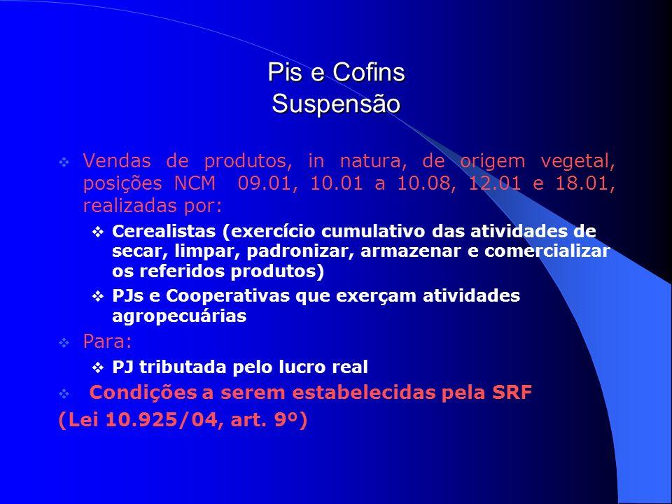 Pis e Cofins Suspensão Vendas de produtos, in natura, de origem vegetal, posições NCM 09.01, 10.01 a 10.08, 12.01 e 18.01, realizadas por: