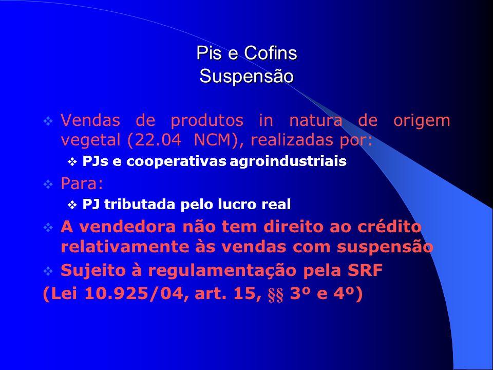 Pis e Cofins Suspensão Vendas de produtos in natura de origem vegetal (22.04 NCM), realizadas por: