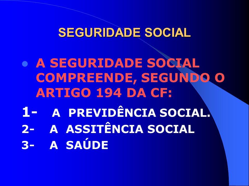 1- A PREVIDÊNCIA SOCIAL. SEGURIDADE SOCIAL