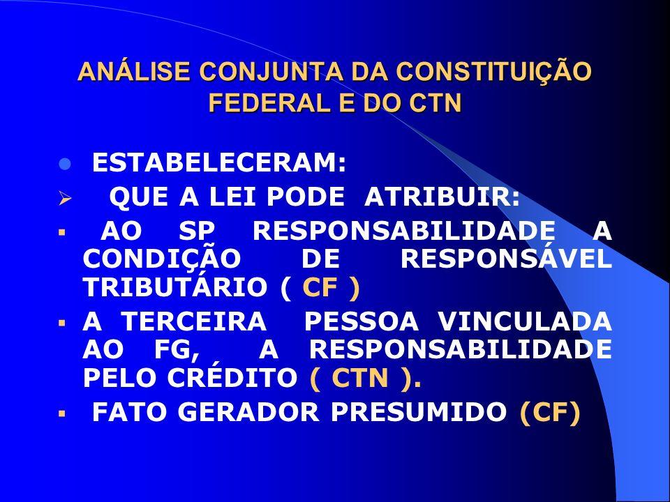 ANÁLISE CONJUNTA DA CONSTITUIÇÃO FEDERAL E DO CTN