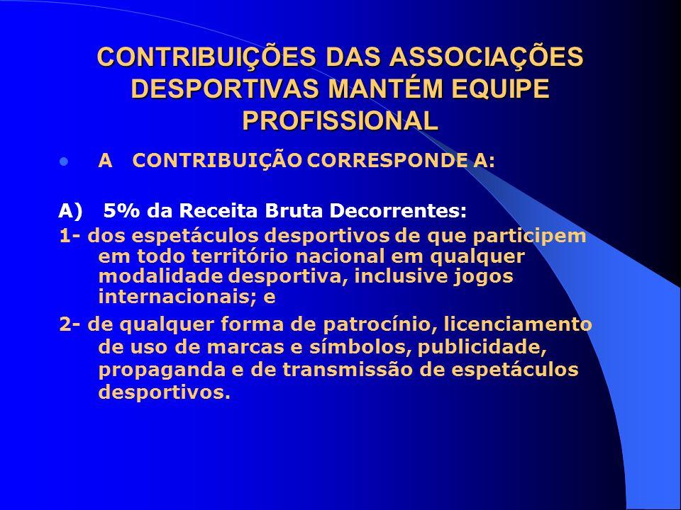 CONTRIBUIÇÕES DAS ASSOCIAÇÕES DESPORTIVAS MANTÉM EQUIPE PROFISSIONAL