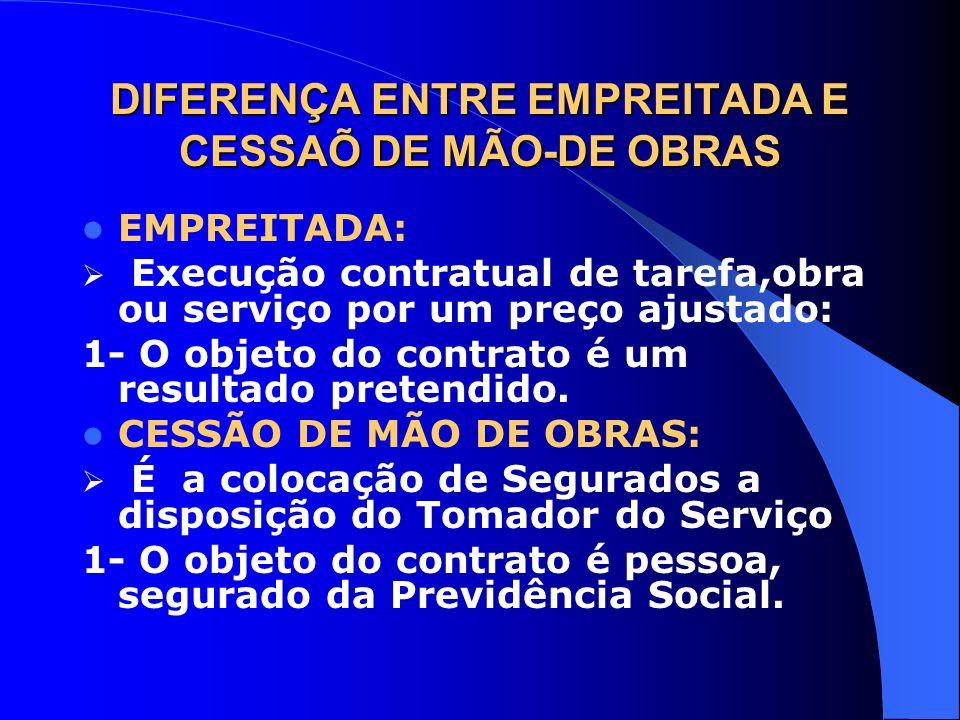 DIFERENÇA ENTRE EMPREITADA E CESSAÕ DE MÃO-DE OBRAS