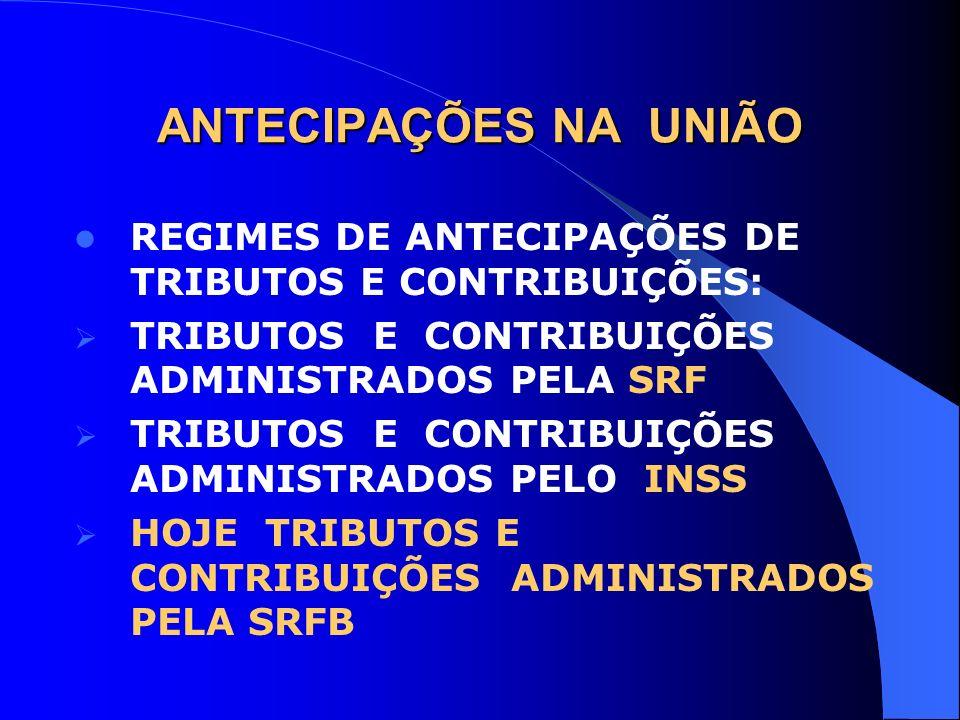 ANTECIPAÇÕES NA UNIÃO REGIMES DE ANTECIPAÇÕES DE TRIBUTOS E CONTRIBUIÇÕES: TRIBUTOS E CONTRIBUIÇÕES ADMINISTRADOS PELA SRF.