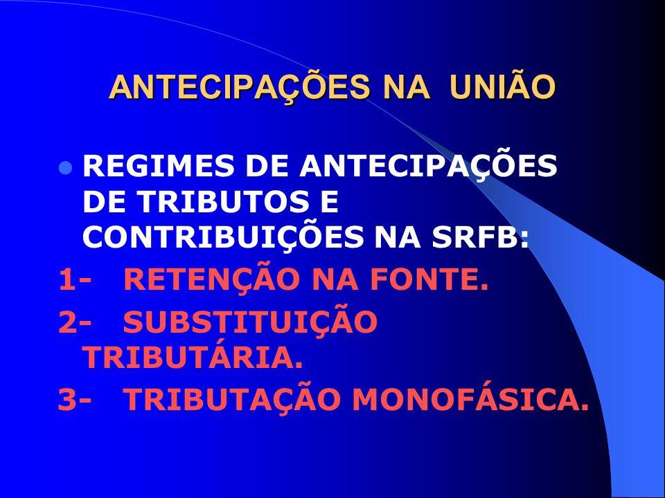 ANTECIPAÇÕES NA UNIÃO REGIMES DE ANTECIPAÇÕES DE TRIBUTOS E CONTRIBUIÇÕES NA SRFB: 1- RETENÇÃO NA FONTE.