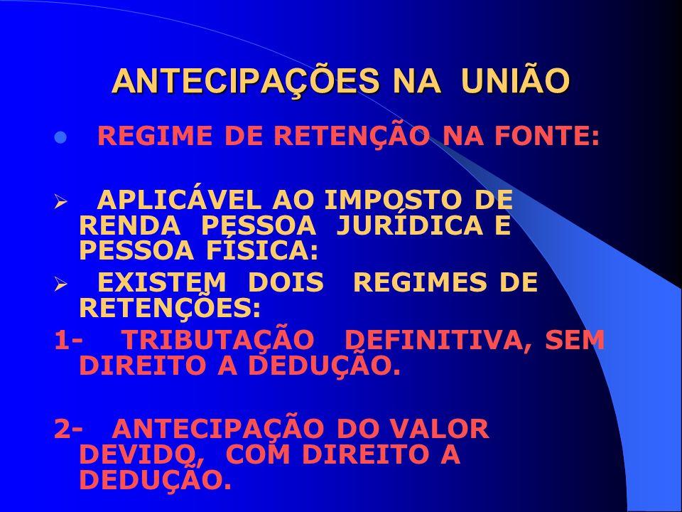 ANTECIPAÇÕES NA UNIÃO REGIME DE RETENÇÃO NA FONTE: