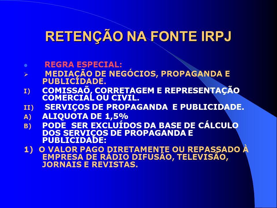RETENÇÃO NA FONTE IRPJ MEDIAÇÃO DE NEGÓCIOS, PROPAGANDA E PUBLICIDADE.