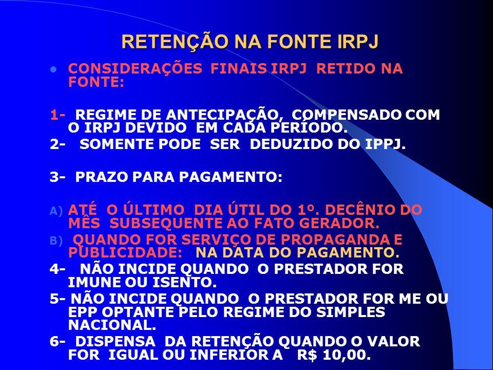 RETENÇÃO NA FONTE IRPJ CONSIDERAÇÕES FINAIS IRPJ RETIDO NA FONTE: