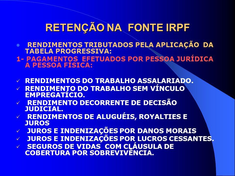 RETENÇÃO NA FONTE IRPF RENDIMENTOS TRIBUTADOS PELA APLICAÇÃO DA TABELA PROGRESSIVA: 1- PAGAMENTOS EFETUADOS POR PESSOA JURÍDICA A PESSOA FÍSICA: