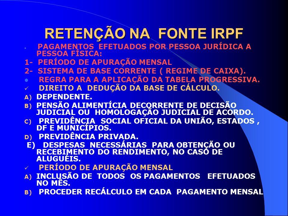 RETENÇÃO NA FONTE IRPF 1- PERÍODO DE APURAÇÃO MENSAL