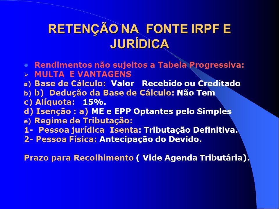 RETENÇÃO NA FONTE IRPF E JURÍDICA
