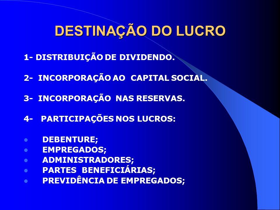 DESTINAÇÃO DO LUCRO 1- DISTRIBUIÇÃO DE DIVIDENDO.