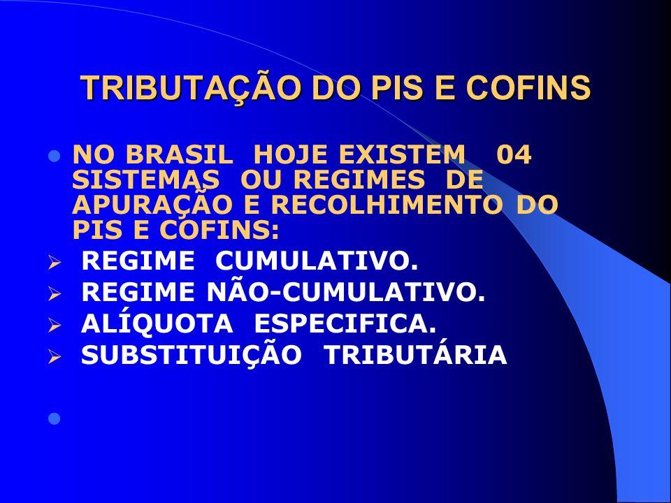 TRIBUTAÇÃO DO PIS E COFINS