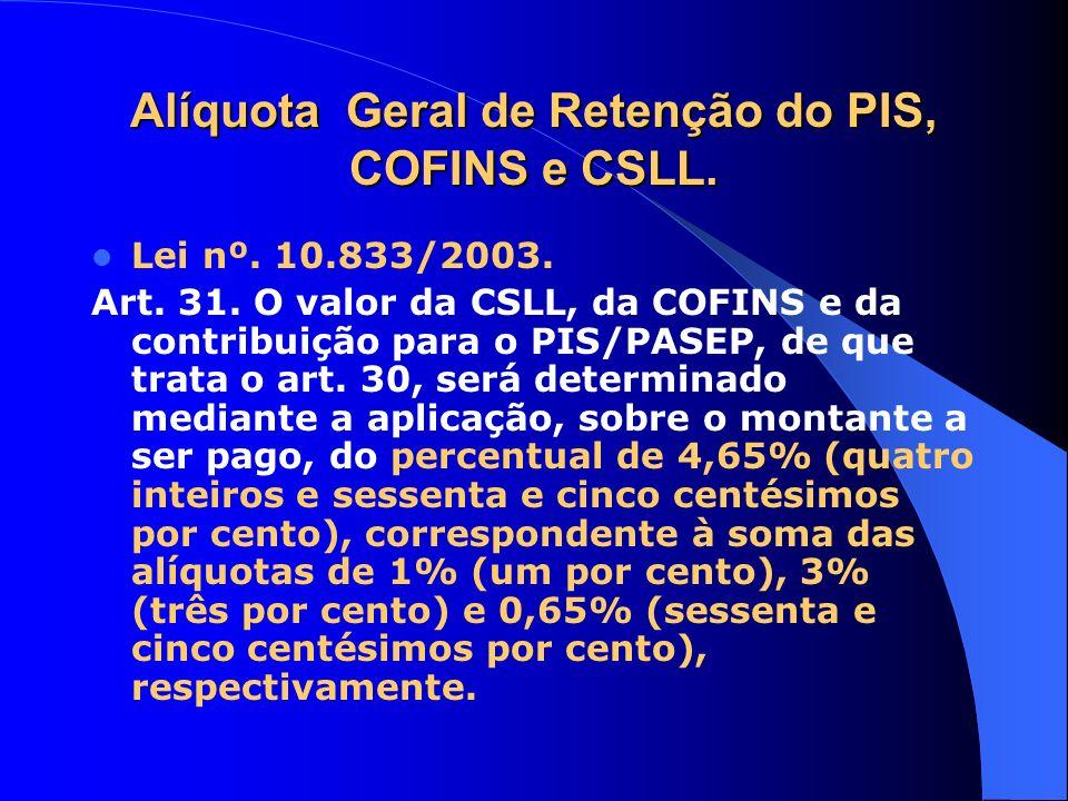 Alíquota Geral de Retenção do PIS, COFINS e CSLL.