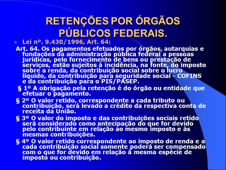 RETENÇÕES POR ÓRGÃOS PÚBLICOS FEDERAIS.
