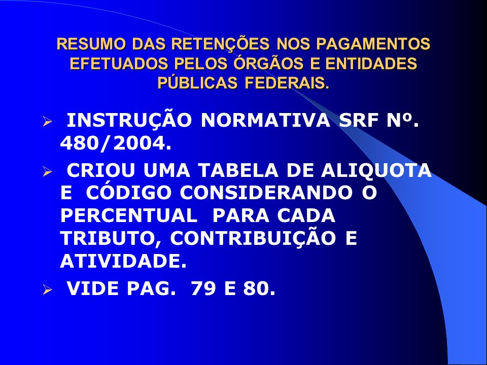 INSTRUÇÃO NORMATIVA SRF Nº. 480/2004.