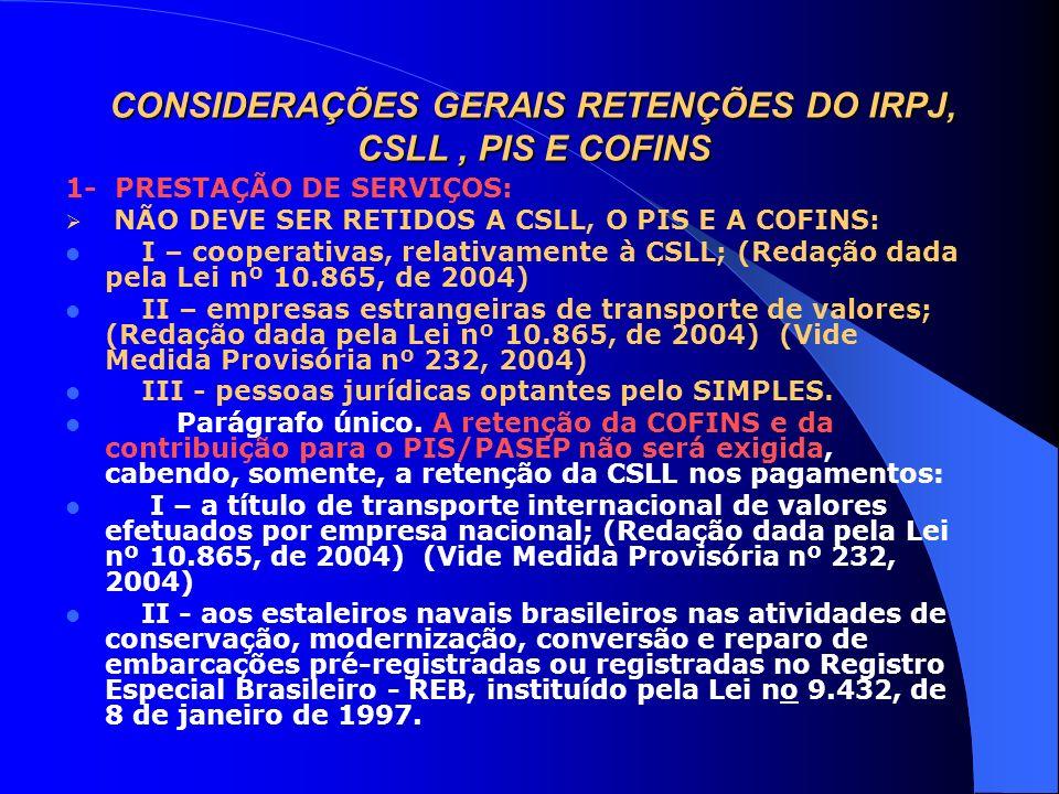 CONSIDERAÇÕES GERAIS RETENÇÕES DO IRPJ, CSLL , PIS E COFINS