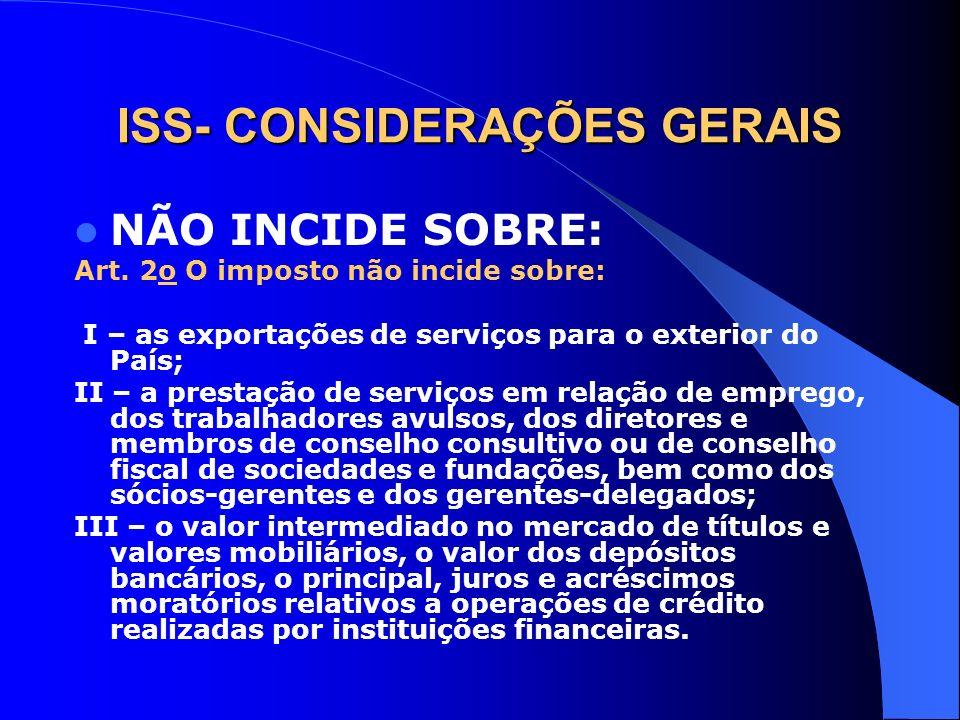 ISS- CONSIDERAÇÕES GERAIS